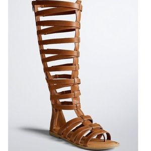 Torrid Cognac Tall Knee Gladiator Cage Sandals 12W